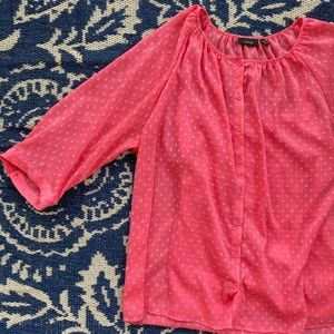 Apt 9 pink textured polka dot blouse with tank